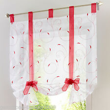 GB Tab Top Sheer Kitchen Balcony Window Curtain Voile Liftable Roman Blinds