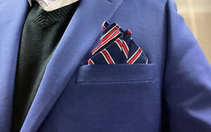 POCKET SQUARE  Custom pre-folded & Sewn..just slips in pocket &stays In Place.