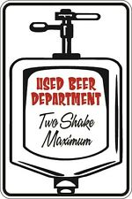 "Metal Sign Used Beer Department 8"" x 12"" Aluminum S120"