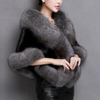 2019 Winter Women Faux Fur Shawl Elegant Bridal Wrap Shawl Plush Short Coat Warm