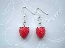 REALISTIC STRAWBERRY DROP Earrings Rockabilly CUTE KITSCH Red Lucite Pair of