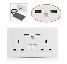 2x USB Doble Pared Enchufe 13amp de RU 2 tomas interruptor eléctrico Cargador