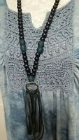Long Necklace with Black Wood Beads and Leather Fringe  Bohemian Handmade