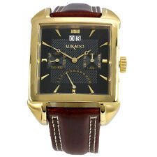 LUKADO - Toulouse - gold-black: Automatik-Armbanduhr mit Fly-Back-Sekunde, Datum