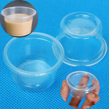 100Pcs 1oz 30ml Cup With Lid Clear Plastic Pudding Jelly Sauce Bowl Home Party