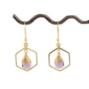 Purple Amethyst Quartz Drilled Setting 24k Gold Plated Drop Dangle Earring Pairs