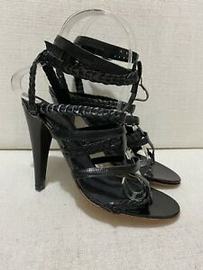 ISABEL MARANT - Polly Black Leather Strappy High Heel Sandals - Sz 37 / US7 /UK4