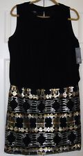 Women's Size 12 AGB Dress Black Silver and Gold Sleeveless NWT