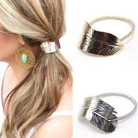 Elastico capelli foglia accessori coda cavallo acconciatura metallo elegante