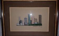 Houston Texas Skyline Vintage 1984 Completed Cross Stitch Custom Matte Frame