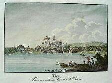 THUN thuner see Thoune Svizzera vecchia altkolorierte litografia 1840