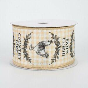 "Farmhouse Animals Ivory & Beige Check Ribbon 2.5"" W x 10 yards"