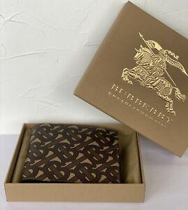 Burberry Bifold Wallet Leather E-canvas Monogram Print Brown 100% Genuine Men
