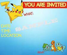 Pokemon Invitations with matching envelopes, birthday 12pack