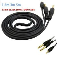1.5m 3m 5m 3.5mm STEREO Jack to 2x 6.35mm 1/4 MONO Plugs Cable Male to Male HOT