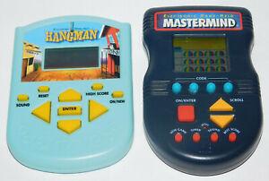 Electronic Handheld Mastermind LCD Game & Hangman Lot of 2 Handheld Games Works