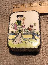 metal box with Asian art porcelain top