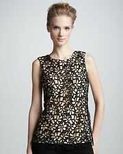 Lela Rose Neiman Marcus Womens Sleeveless Top Guipure Floral Lace $70 XS