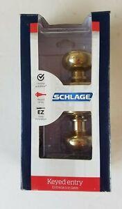 Schlage F51 v geo 505 605 Bright Brass Georgian Keyed Entry Knob