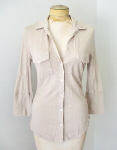James Perse gray tissue knit supima cotton button blouse top pockets collared 2