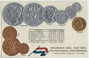 NETHERLANDS INDIES Gulden & Cents COINS COLLAGE with State Flag Advertising PC