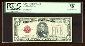 DBR 1928-F $5 Legal Wide II Fr. 1531Wii IA Block PCGS 30 Serial I78306755A