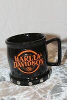 Harley Davidson Embossed 3D Logo Studs Black Ceramic Coffee/Tea Mug Cup  16oz