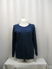 Women Tunic Sweater NY COLLECTION Solid Blue SIZE XL Long Sleeves Scoop Neck