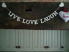 """LIVE LOVE LAUGH"" GARLAND CREAM PAINTED WOOD WITH HEARTS..VINTAGE STYLE"