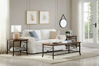 Coffee Table Set 3-Piece Set 1Coffee 2 End Table Sets Metal Legs Living Room US