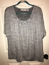 Sag Harbor Gray Womans Blouse 1X Pre Owned