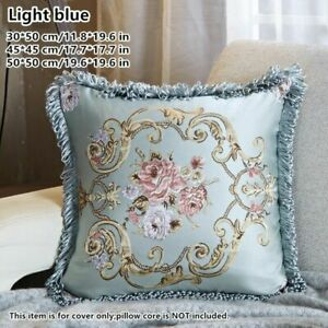 2pcs Satin Flower Cushion Case Tassels Fringe Jacquard Pillowcase Only Cover New