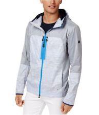 HUGO BOSS Men Classic Fit Blue Gray Hooded Windbreaker Jacket Coat Size XXL NWT