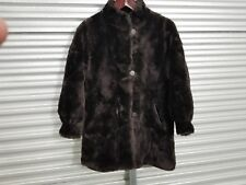 Brown faux Fur buttoned Winter Coat by J. Percy for Marvin Richards. Size: P