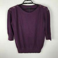 New Banana Republic Sweater Size M Purple Boatneck 3/4 Sleeve Cotton Blend