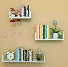Kids Bedroom Wall Shelves 3 White Display Shelving Unit Set Decoration Bookcase