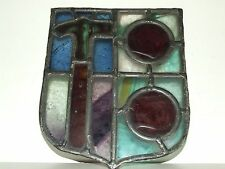 Antique 1800's Victorian Lodge Secret Society Window Stained Glass Shield Masons