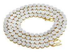 """Mm Chain Necklace 9 ct 24"""" 10K Yellow Gold Genuine Diamond Cluster 6"""