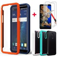 For LG Stylo 5/ 5 Plus Shockproof Hybrid Armor Phone Case+Glass Screen Protector