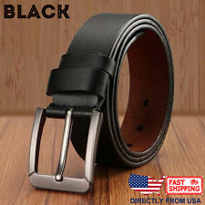 Men's Genuine Leather Classic Metal Buckle Handcrafted Jean Belt
