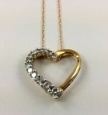 10K YELLOW GOLD HEART PENDANT w/ DIAMONDS + gold CHAIN NECKLACE 1.8 Grams