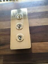 Vintage Walsall Brass 3 Gang  Light Switch Perfect circa 1950s
