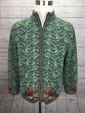 Pendleton Cardigan Zip Up Sweater Womens L Wool Blend Green Floral Accents