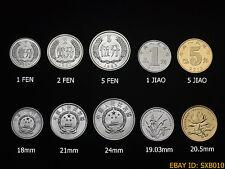 China 1, 2, 5 fen, 1, 5 jiao. 1 set of five coins, UNC. 5PCS age random.