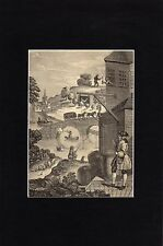 Antique matted print Satire on False Perspective / after Hogarth 1835