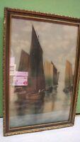 Vintage E. Lamasure Sailboat Maritime Print in Frame