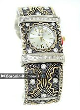 ladies 3 color retro steam punk cuff watch white crystals