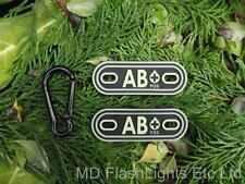 AB+ FLORESCENT TACTICAL BLOOD GROUP IDENTIFICATION TAGS MILITARY SURVIVAL