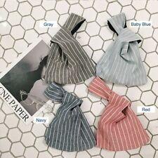 Striped Linen Knot Wrist Bag Mini Eco Friendly Hands Free Bag (US Seller)