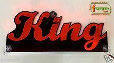 """LED CAMION TRUCK TARGA INSEGNA LUMINOSA """"King"""" il suo desiderio nome 12 O. 24v ROSSO © faunz"""